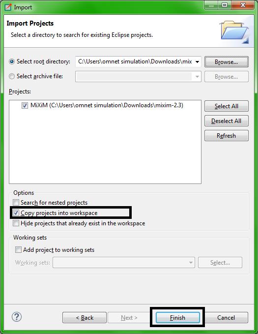 Omnet MIXIM Installation Step12